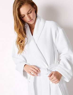Modal Rich Waffle Dressing Gown, WHITE, catlanding