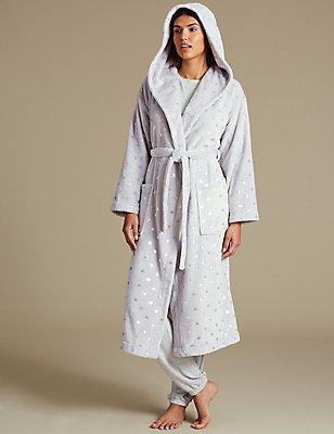 Robe de chambre en polaire à imprimé coeurs avec capuche, effet métallisé, GRIS CLAIR, catlanding