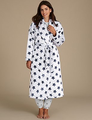 Star Print Shimmer Dressing Gown, BLUE MIX, catlanding