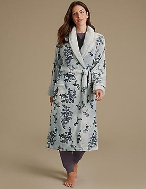 Shimmersoft™ Floral Print Carved Dressing Gown, BLACK MIX, catlanding