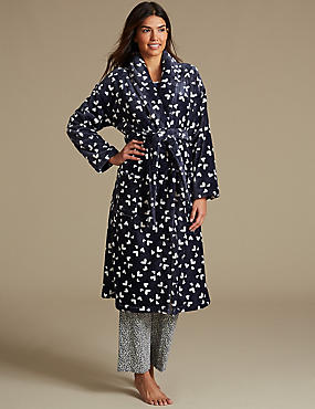 Fleece Heart Print Dressing Gown, MED BLUE DENIM, catlanding