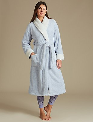 Fleece Tie Front Dressing Gown, BLUE, catlanding