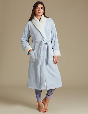 Fleece Trim Two Tone Dressing Gown, BLUE, catlanding