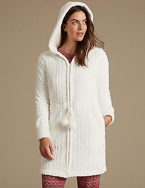Textured Cable Carved Dressing Gown, WINTER WHITE, catlanding