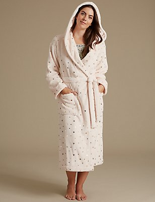 Fleece Tie Front Star Print Dressing Gown, LIGHT PINK, catlanding