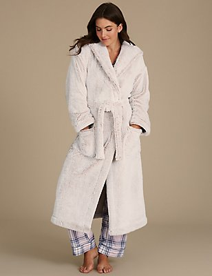 Shimmer Hooded Dressing Gown, OATMEAL MIX, catlanding
