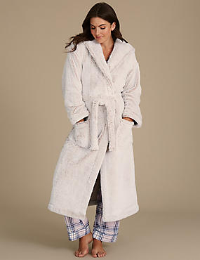 Shimmersoft™ Hooded Dressing Gown, OATMEAL MIX, catlanding