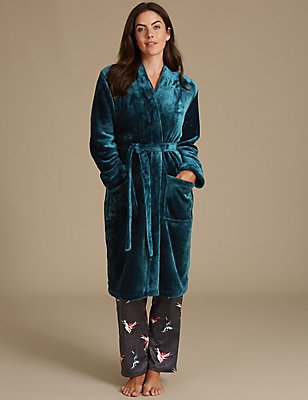 Tie Front Dressing Gown, LIGHT GREEN, catlanding