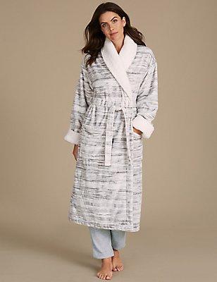 Shimmer Borg Trim Dressing Gown , GREY MIX, catlanding