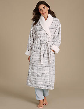 Shimmersoft™ Borg Trim Dressing Gown , GREY MIX, catlanding