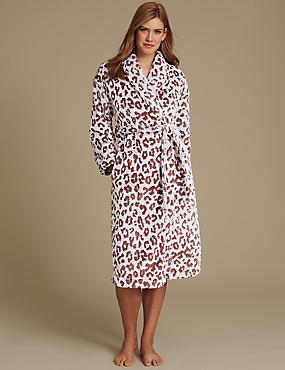 Animal Print Carved Dressing Gown, CHOCOLATE MIX, catlanding