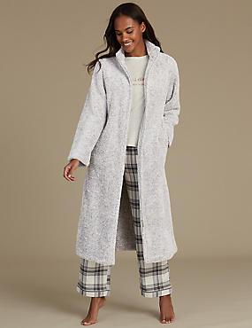 Long Sleeve Zip-up Dressing Gown, GREY MIX, catlanding