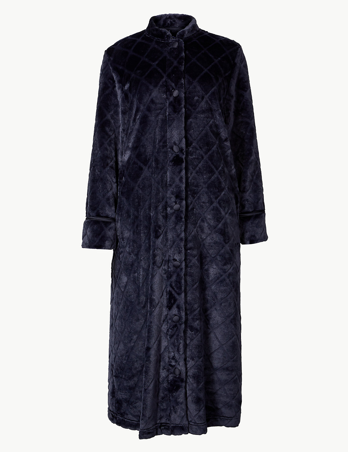 Халат текстурированный с длинным рукавом M&S Collection. Цвет: морской микс