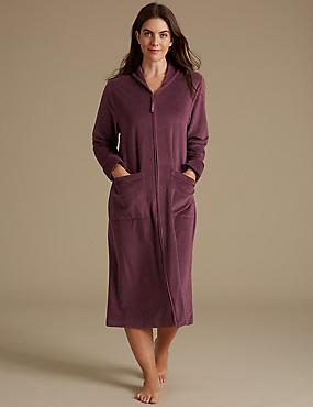 Fleece Zip Through Dressing Gown, DAMSON, catlanding