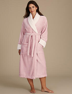 Shawl Collar Dressing Gown, PINK MIX, catlanding