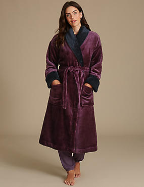 Shawl Collar Dressing Gown, PURPLE MIX, catlanding
