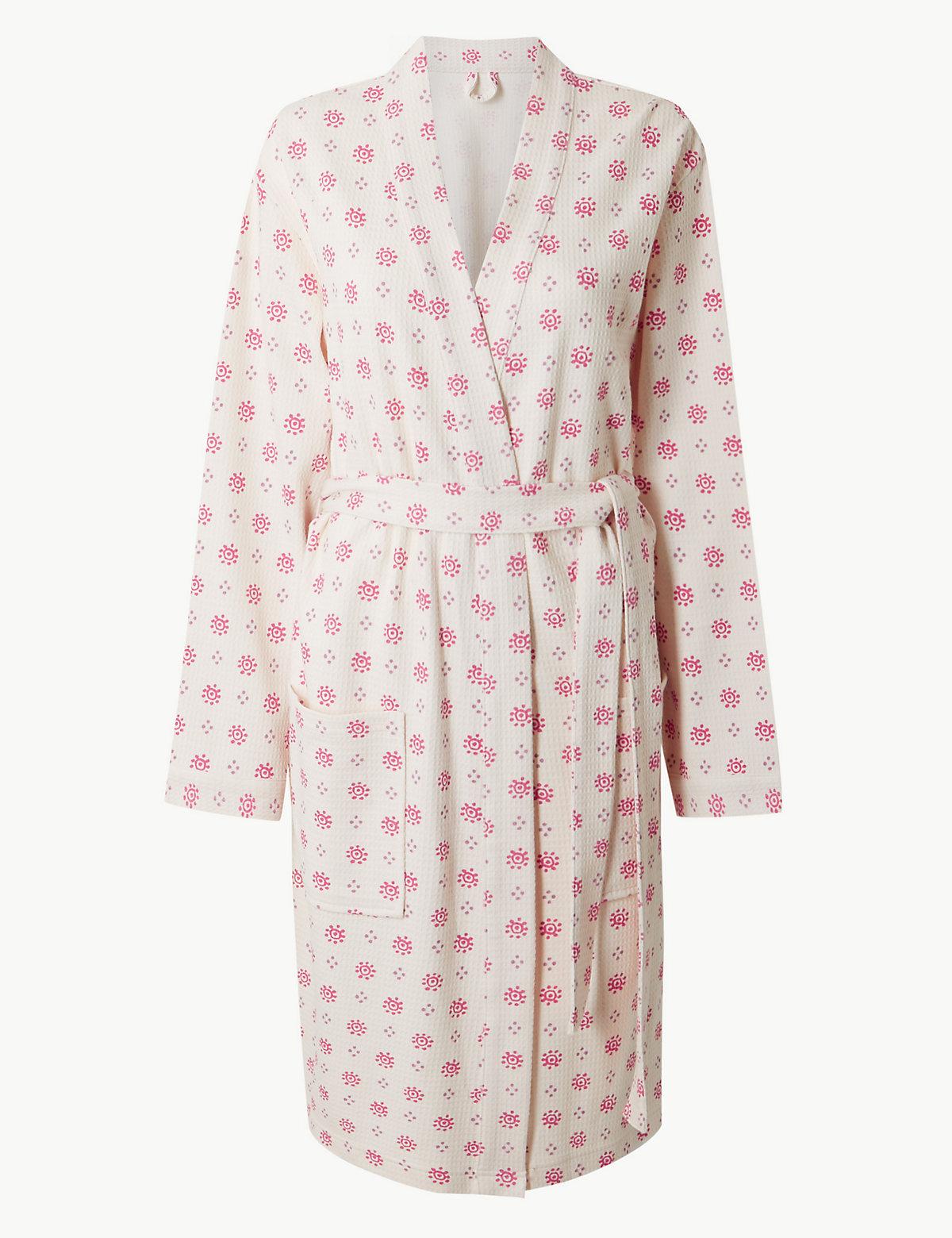 Текстурированный женский халат из чистого хлопка M&S Collection. Цвет: овсяный микс
