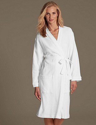 Pure Cotton Waffle Dressing Gown, WHITE, catlanding