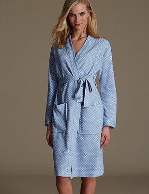 Pure Cotton Spotted Waffle Dressing Gown, BLUE MIX, catlanding