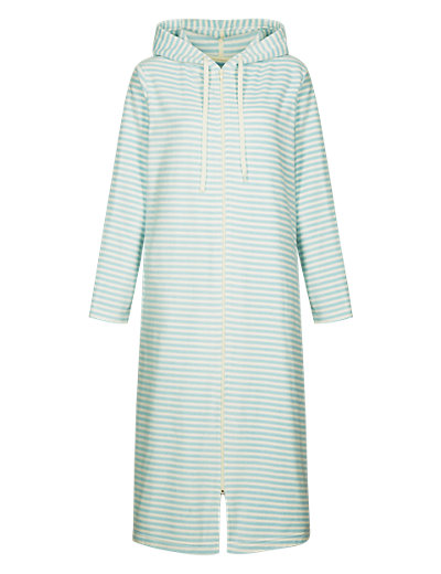 Zip Through Striped Dressing Gown Clothing