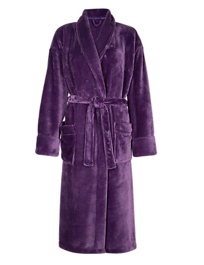 Shawl Collar Belted Dressing Gown Clothing
