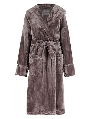 Hooded Luxury Dressing Gown , CHOCOLATE, catlanding