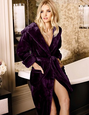 Hooded Luxury Dressing Gown , GRAPE, catlanding