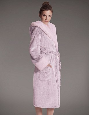 Luxury Hooded Shimmer Dressing Gown, PINK MIX, catlanding