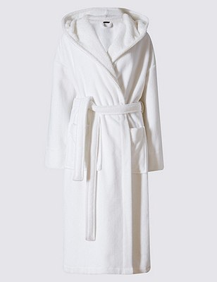 Luxury Hooded Shimmer Dressing Gown, OATMEAL MIX, catlanding