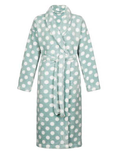 Supersoft Shawl Collar Spotted Dressing Gown Clothing