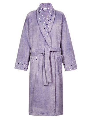 Shawl Collar Spotted Dressing Gown Clothing