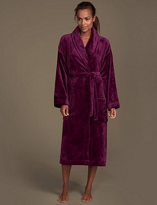 Shimmer Fleece Dressing Gown, PLUM, catlanding