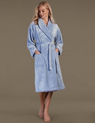 Shimmer Fleece Dressing Gown, SOFT BLUE, catlanding