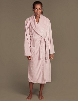 Shimmer Fleece Dressing Gown, PALE PINK, catlanding