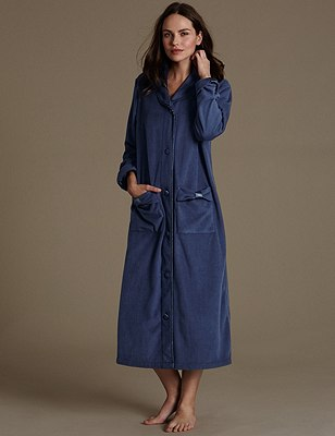 Fleece Dressing Gown with Bow Feature, INDIGO, catlanding