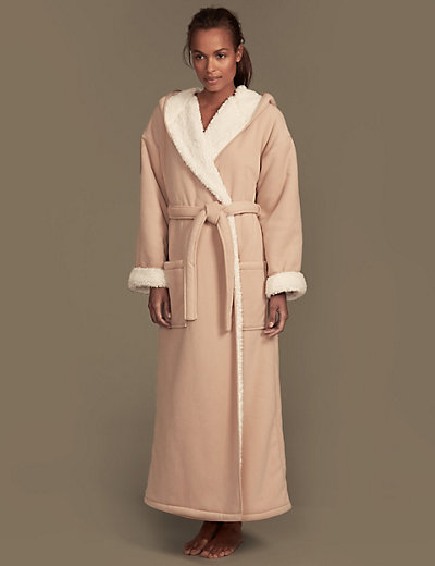 Double Layered Textured Fleece Dressing Gown | M&S