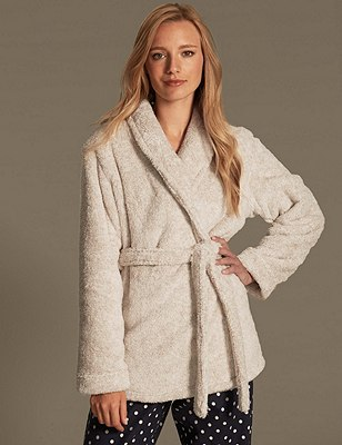 Belted Fleece Dressing Gown, OATMEAL, catlanding