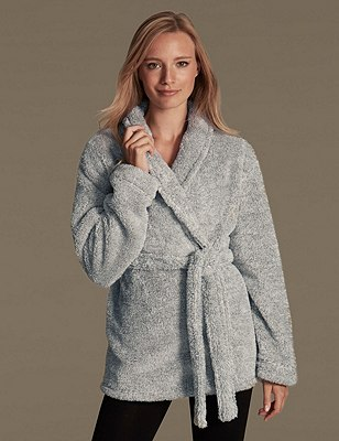 Belted Fleece Dressing Gown, GREY MARL, catlanding