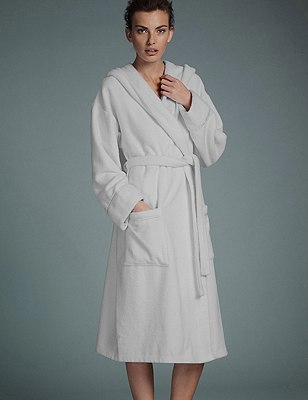 Luxury Hooded Belted Towelling Dressing Gown, WHITE, catlanding