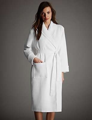 Pure Cotton Luxury Waffle Dressing Gown, WHITE, catlanding