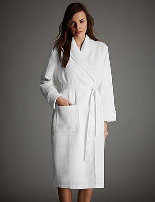 Robe de chambre 100% coton gaufré de qualité supérieure, BLANC, catlanding