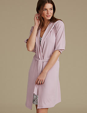 Hooded Wrap Dressing Gown, PINK, catlanding