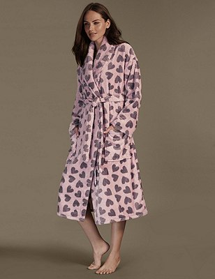 Textured Heart Print Fleece Belted Dressing Gown, PINK MIX, catlanding