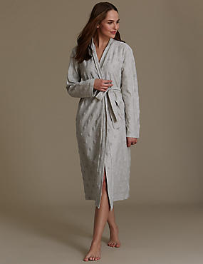 Spotted Belted Dressing Gown, GREY, catlanding
