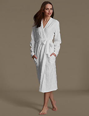 Spotted Belted Dressing Gown, WHITE, catlanding