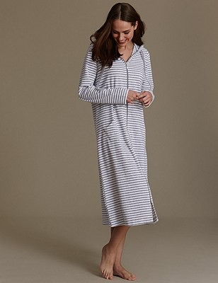 Zipped Striped Dressing Gown, GREY MIX, catlanding