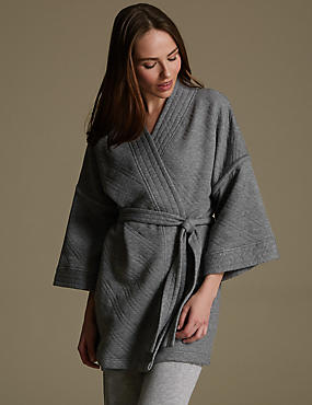 Quilted Belted Wrap Dressing Gown, GREY, catlanding