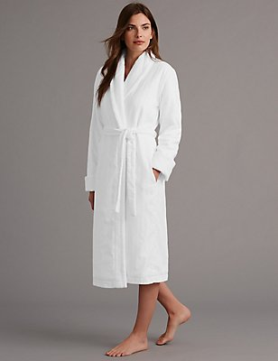 Pure Cotton Luxury Sateen Dressing Gown, WHITE, catlanding