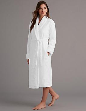 Robe de chambre 100% coton satiné de qualité supérieure, BLANC, catlanding