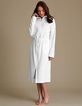 Long Sleeve Dressing Gown, WHITE, catlanding